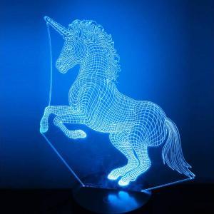 lámpara de holograma unicornio azul