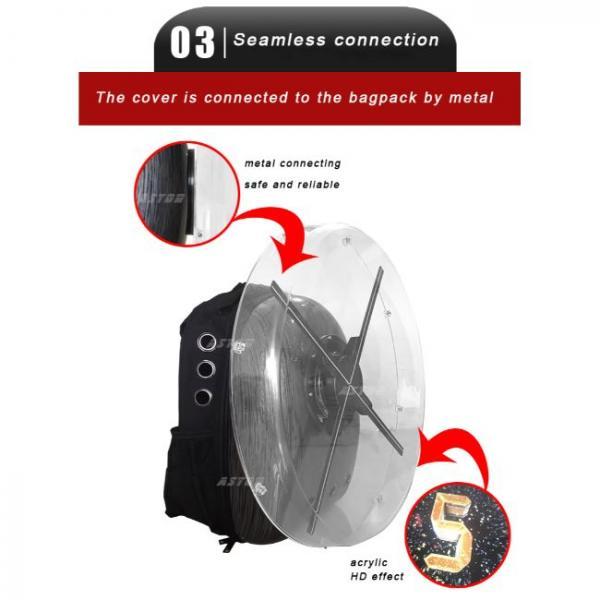 ventilador holograma portátil en saco seguro