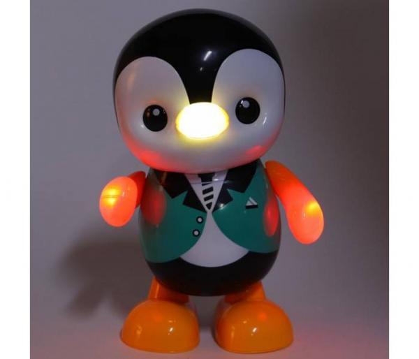 música bailando pingüino de juguete luz led