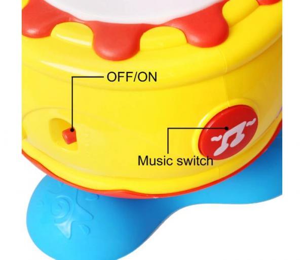 tambor musical giratorio con luz interruptor de música