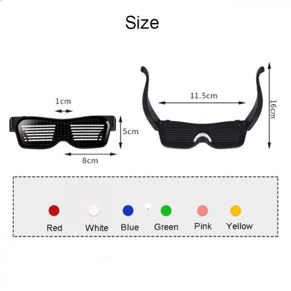 Gafas LED Bluetooth controladas por teléfono inteligente muchos tamaños y colores