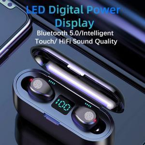 Auriculares inalámbricos F9 con sonido cristalino y pantalla LED de potencia