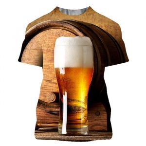 Camiseta de verano con estampado de cerveza para hombre, ropa de calle informal