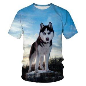 Camiseta con estampado 3D de perro Casual Streetwear 2021