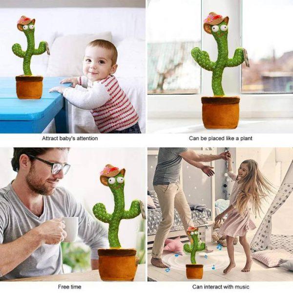 Cactus hablando y bailando que interactúa con la música.