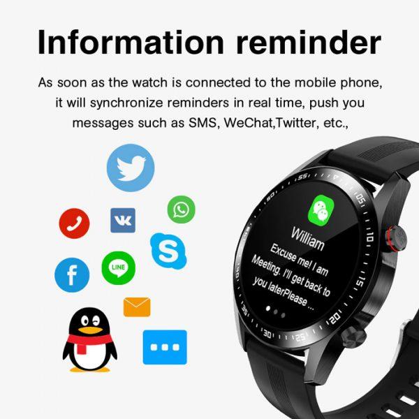reloj inteligente deportivo completamente impermeable con recordatorio de información