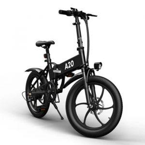 bicicleta eléctrica negra con muchas características