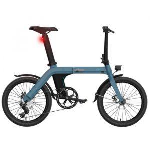 bicicleta eléctrica azul claro con muchas características